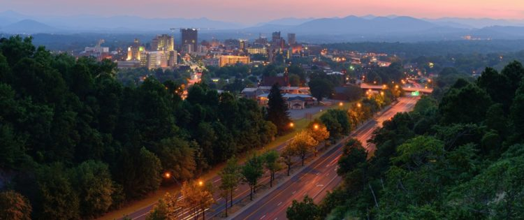 aerial view of downtown asheville