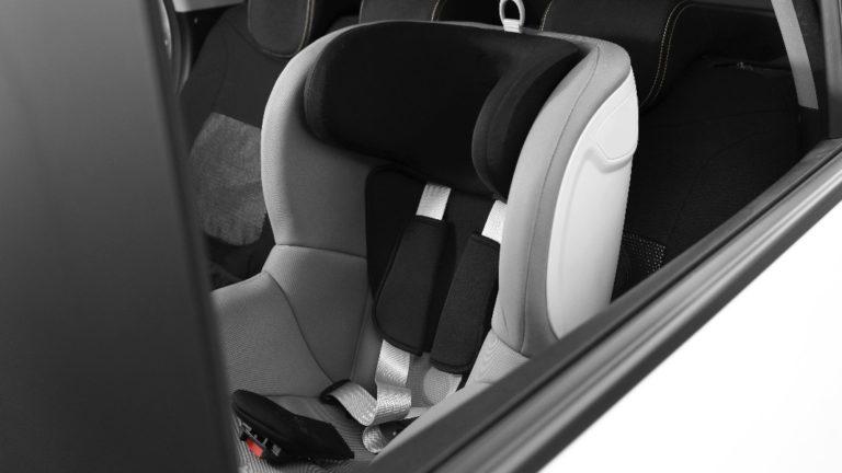 empty car seat installed in a car