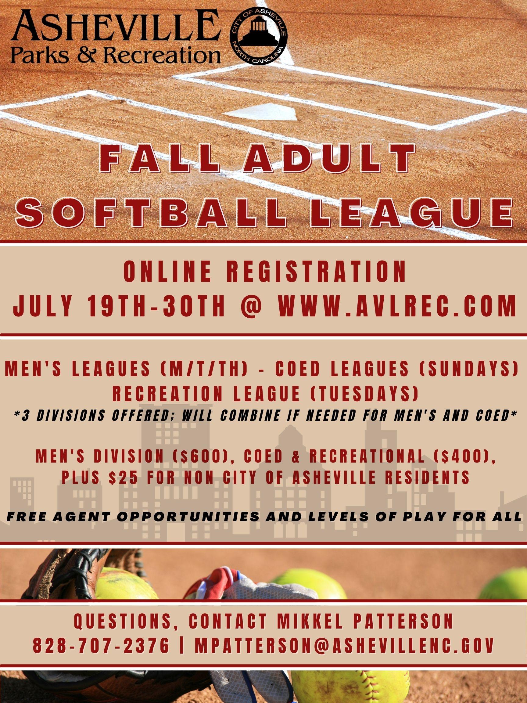 Adult Fall Softball Flyer