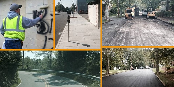 images of streets and cleaning grafitti