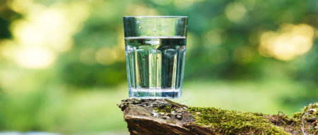 glass of water in nature