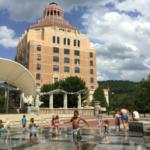 Children playing at Splashville in the summer.