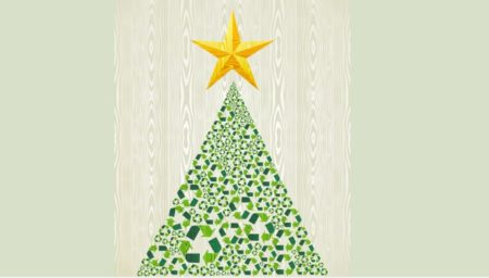 illustration of christmas tree made out of green recycle symbols