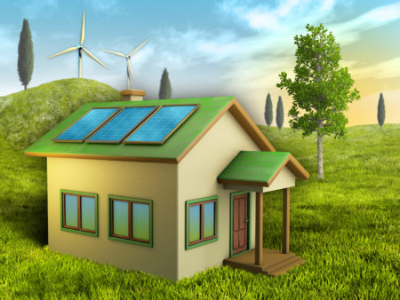 Solar and wind power illustration