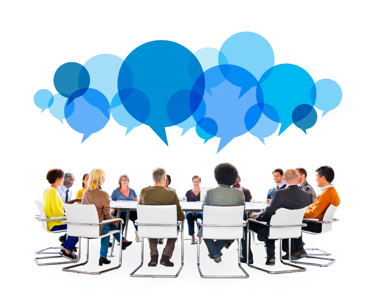 photo illustration of Diverse People in Meeting With Speech Bubbles