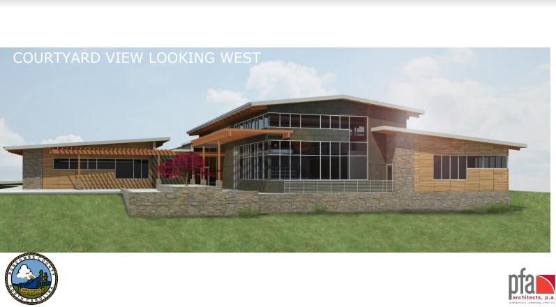 Architectural rendering of the new East Asheville Library