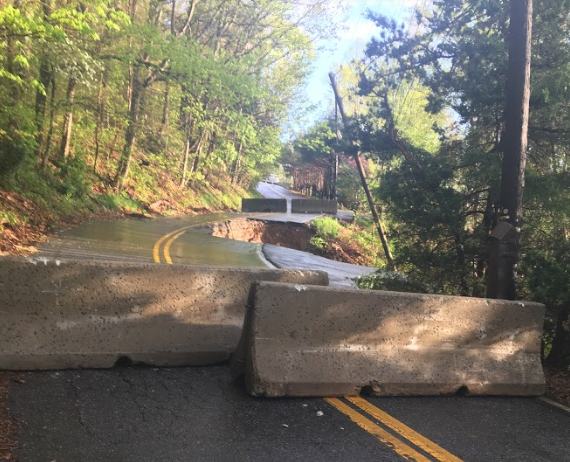 Concrete barricade on Old Toll Road