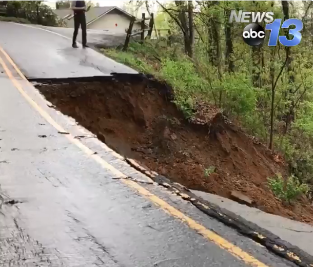 landslide on Old Toll Road up on Town Mountain