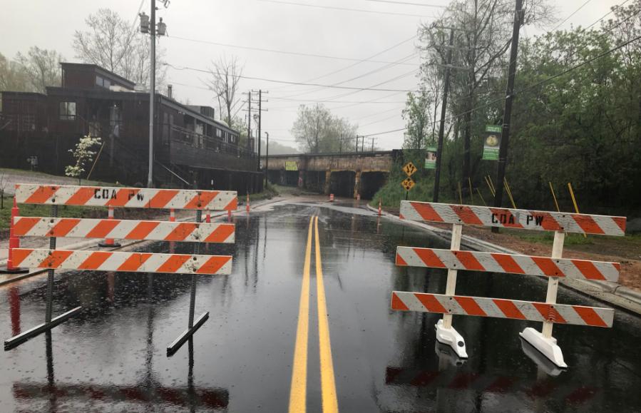 Riverside Drive flood barricade