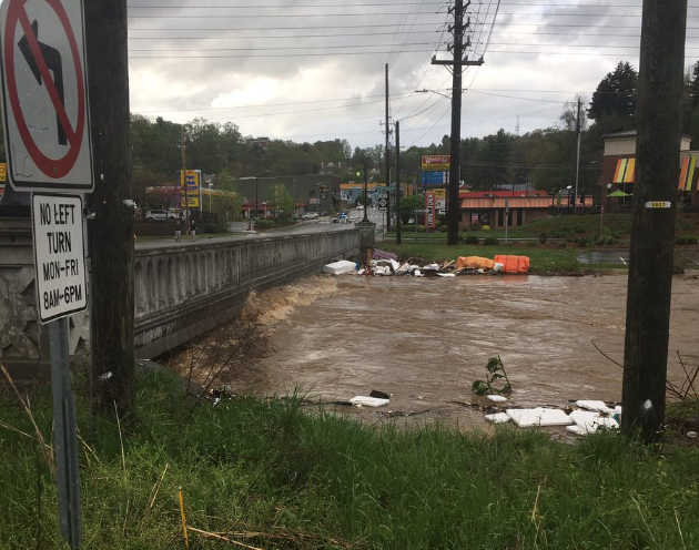 Image of flooded Swannanoa River