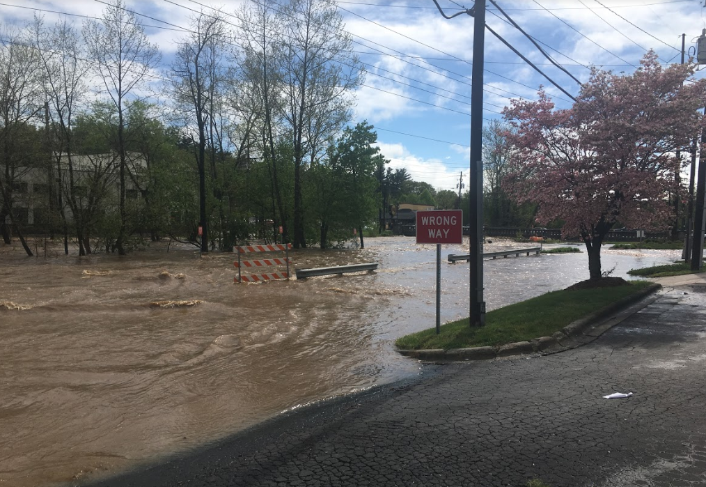 Zoe's parking lot flooded.