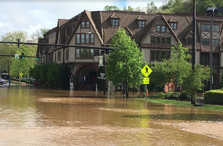 sunny flooded Biltmore Village