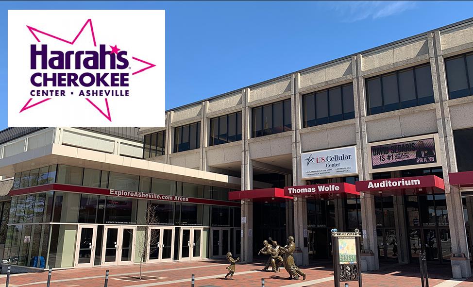 Civic Center building shot with Harrah's logo in corner of image