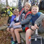 Kids having fun hiking