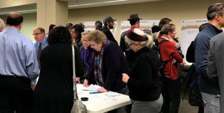 people attending public meeting