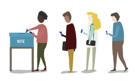 illustration of diverse group of people voting