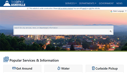 image of new city website homepage