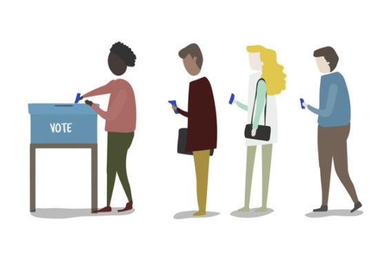 Illustration of people voting