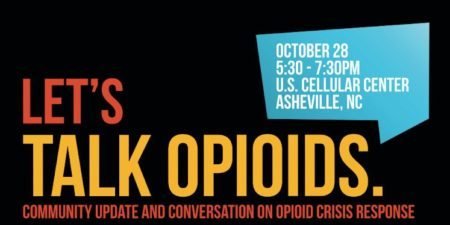 Graphic with text giving date, time and place of Let's Talk Opiods event