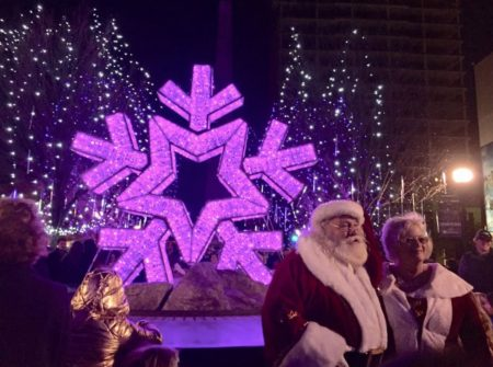Lighted starflake with Santa and Mrs. Claus