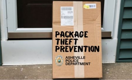 Photo of a package by a front door