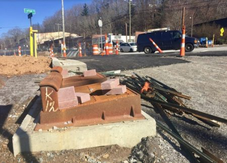 Roundabout construction on Lyman Street