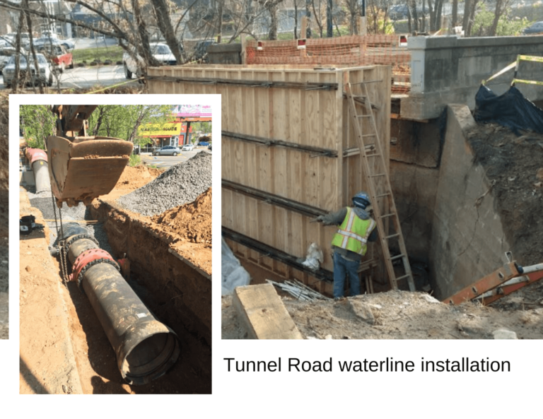 Tunnel Rd waterline construction photo