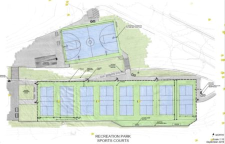 Pickleball court design sketch