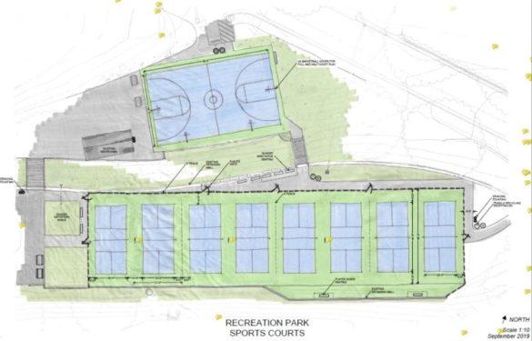 Pickleball court design sketch