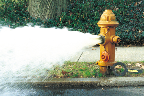 photo of fire hydrant open