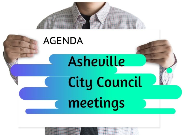 Illustration with words Asheville City Council meetings and agenda