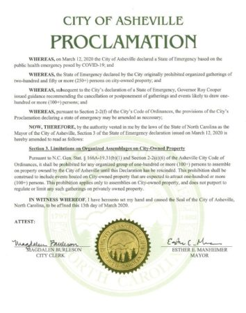 Amended Asheville State of Emergency Proclamation document
