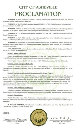 Asheville State of Emergency proclamation document