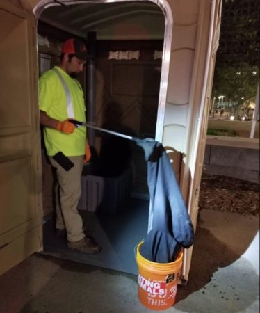 cleaning portapotty