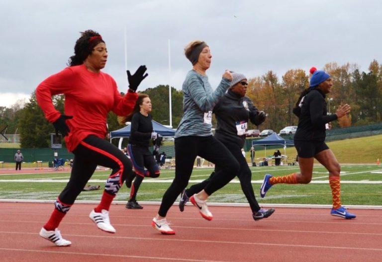 Senior games women running