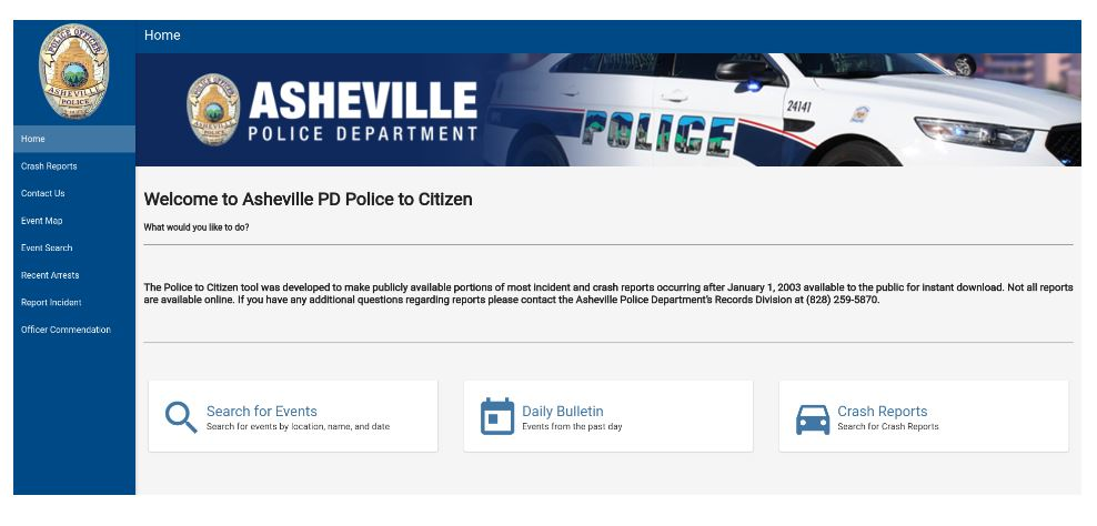 photo of police to citizen tool webpage