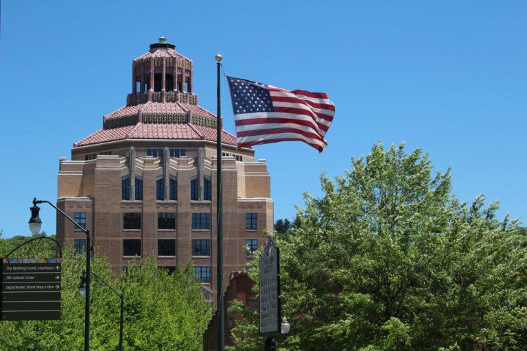 City Hall photo with flag