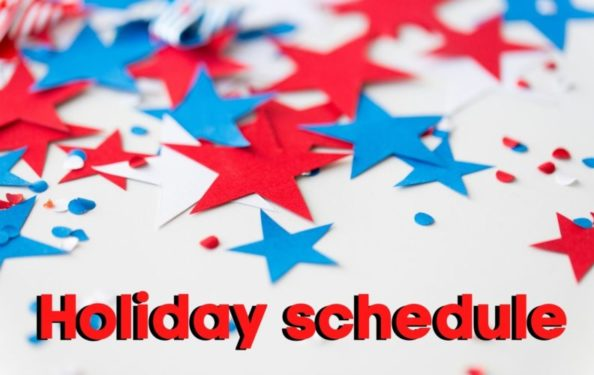 4th of July Holiday schedule with stars