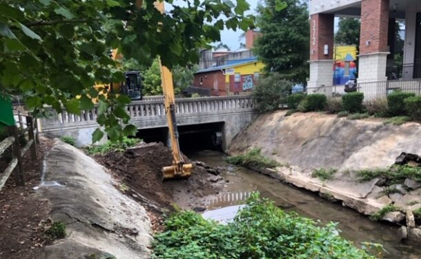 Silt removal on Town Branch