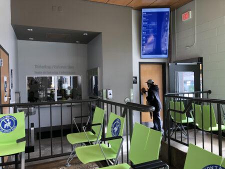 Bus station interior