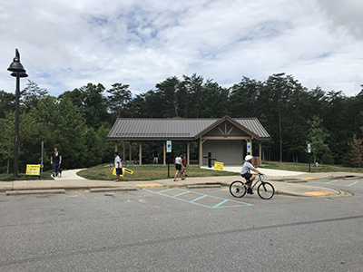 bikers and pedestrians at Richmond Hill Park