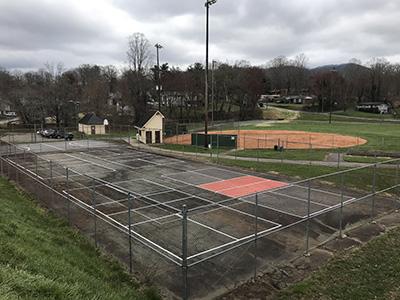Shiloh court and ballfield before renovation
