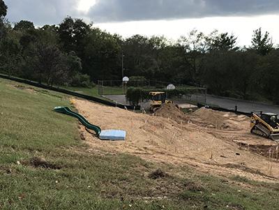 Playground hill under construction