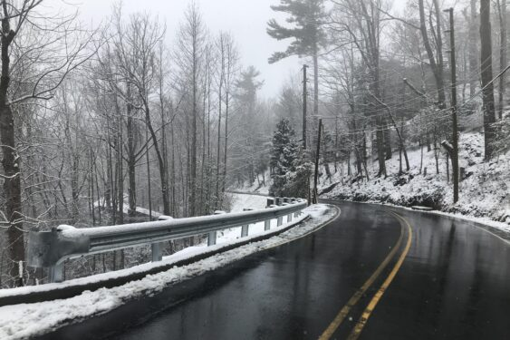 Asheville Old Toll Road in snow