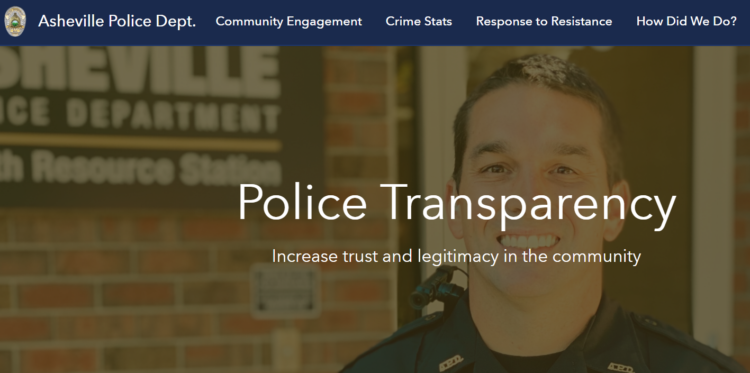 Asheville police transparency dashboard screenshot