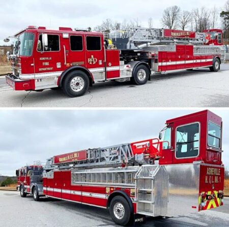 Asheville fire tiller truck views