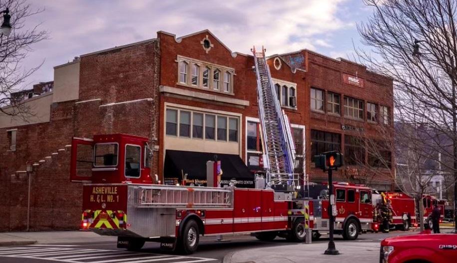Asheville fire tiller truck