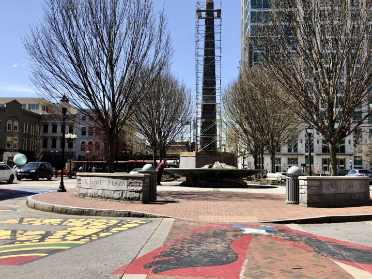 Vance Monument and street mural