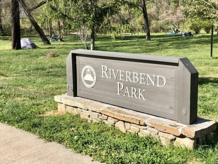 Asheville Riverbend Park sign