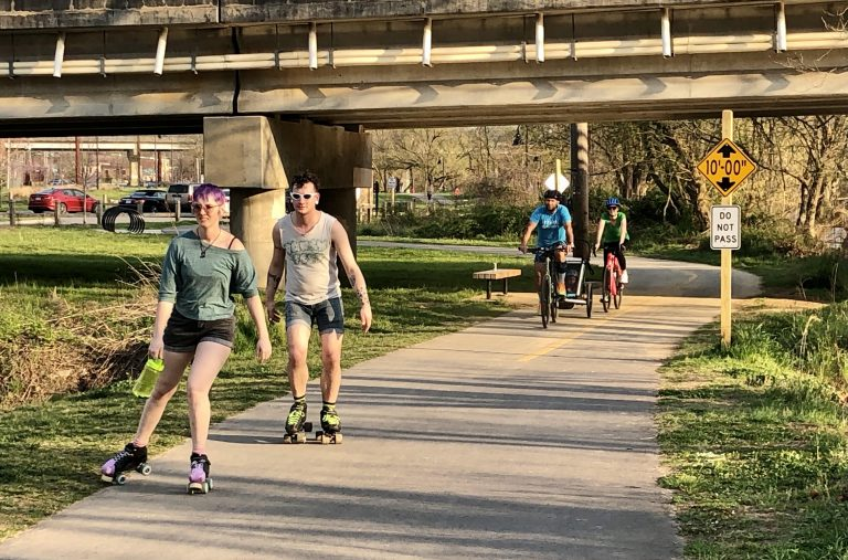 Wilma Dykeman Greenway skaters and bicyclists